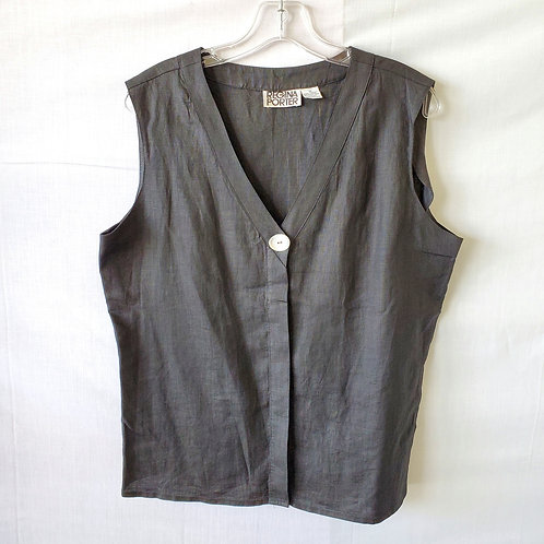 Vintage Regina Porter Black Linen Sleeveless Top - size  12