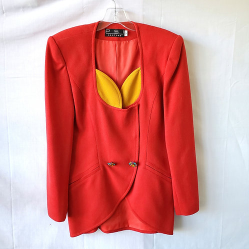 Vintage 90s PSI Couture Wool Blazer with Rhinstone Buttons - size 6