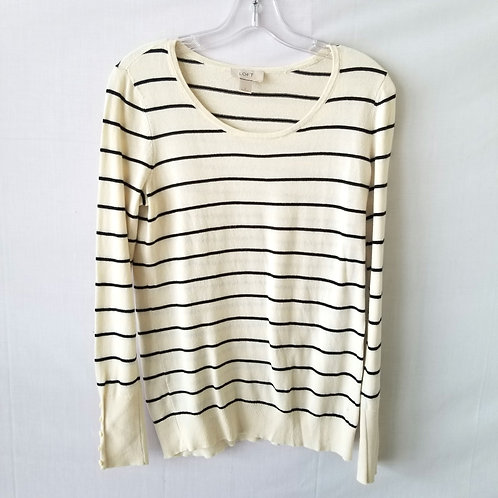 LOFT Striped Sweater with Button Cuffs - S
