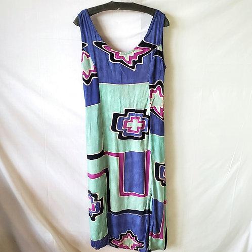 Rain Rayon Batik Dress with Slits - S