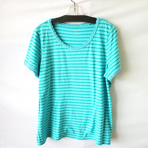 Talbots Striped Cotton Tee with Edging - size 1X