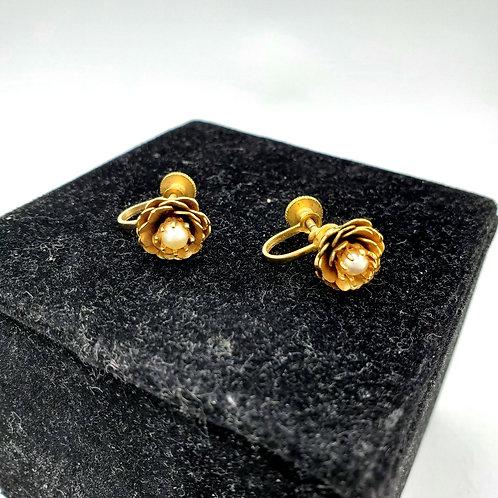 Vintage Flower Screwback Earrings with Pearl