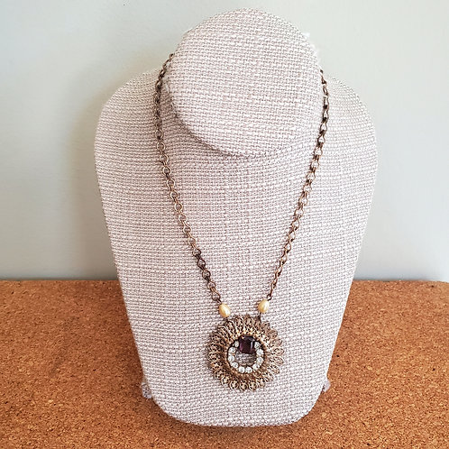Vintage Goldtone Chain with Rhinstone Medallion