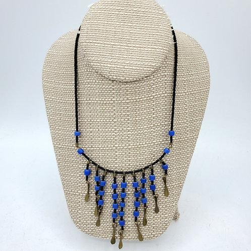 Blue & Brass Bib Necklace