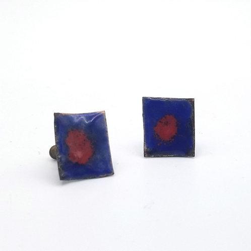 Copper & Enamel Screw Back Earrings