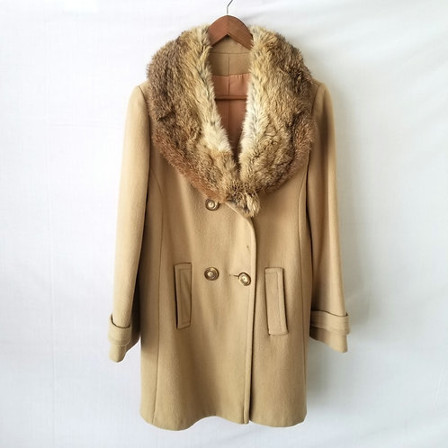 Vintage Coat with Fur Collar - as is