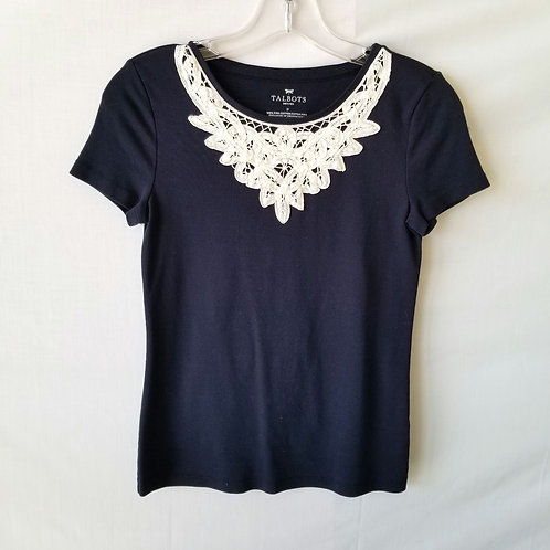 Talbots Navy Tee with Lace - Petite
