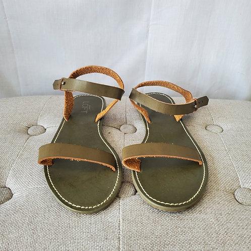 LOFT Olive Leather Flat Sandals - size 8 - New