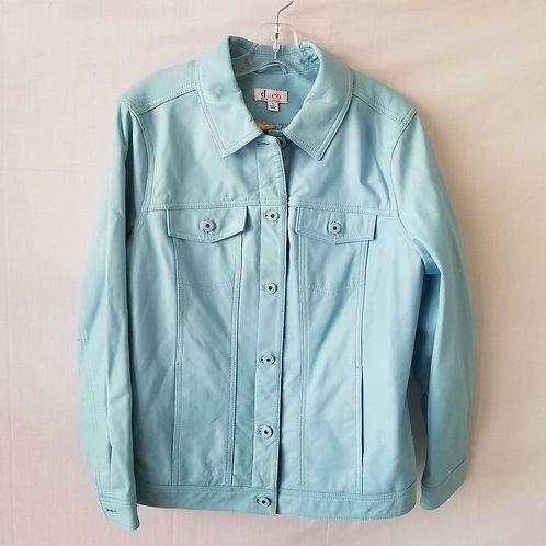 D & Co Baby Blue Leather Jean Jacket - L