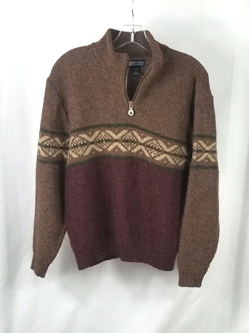 Land's End Zip Neck Brown Sweater - S