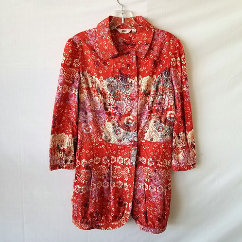 Red Pattern Tunic With Pleated Hem & Buttons - See Description For Size Info