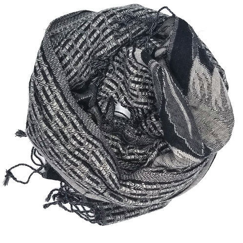 Black & Gray Scarf with Floral Pattern
