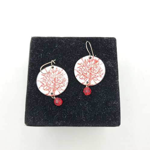 Red & Teal Enamel Earrings