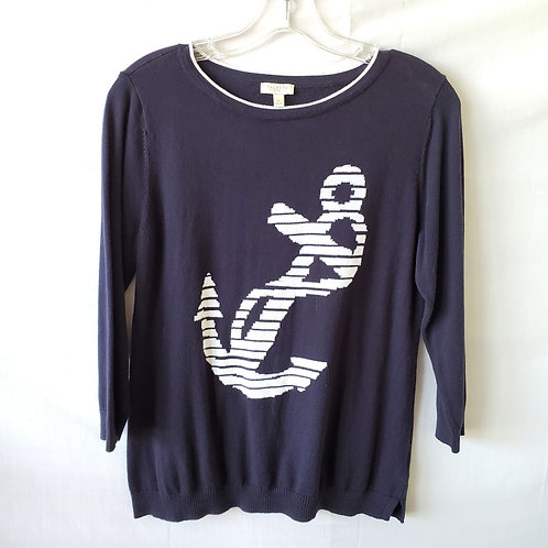Talbots Factory Cotton Anchor Sweater - S Petite