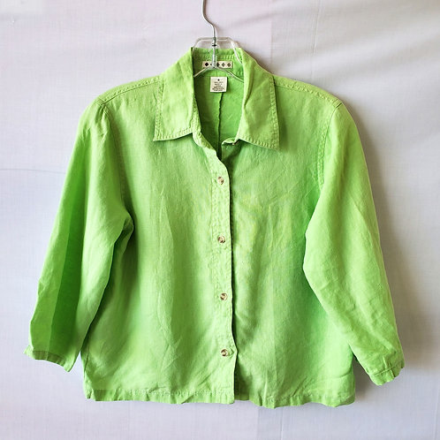Spring Green Cropped Fit Linen Shirt - S