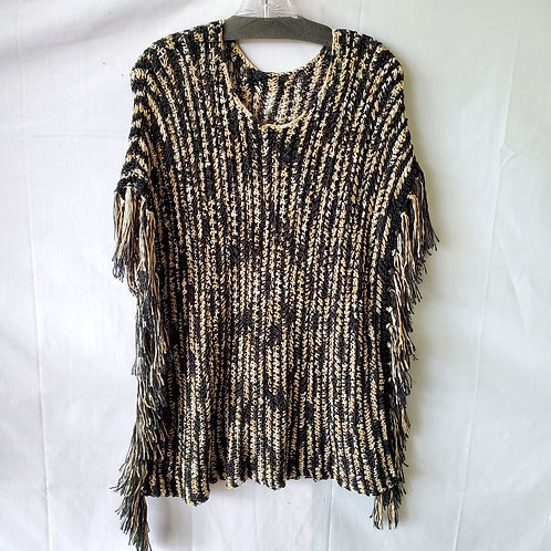 Open Knit Poncho Top with Fringe - One Size