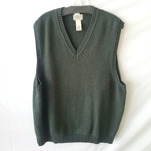 LL Bean Green Cotton Sweater Vest - XL
