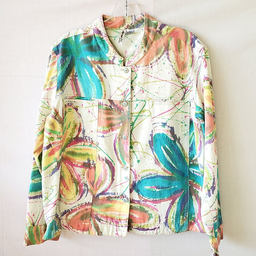 Winter Sun Cotton Jacket with Splatter Print - L