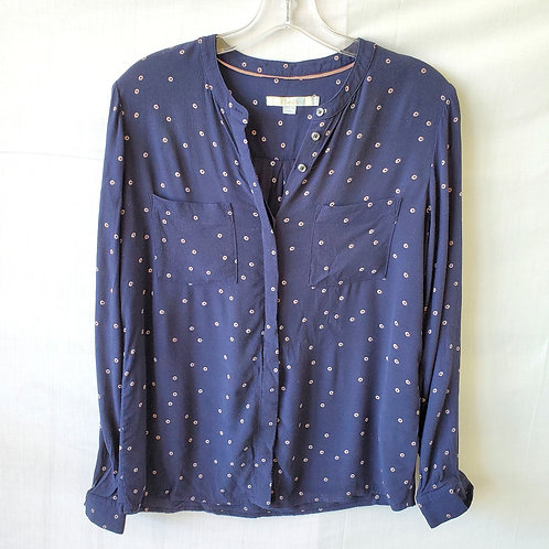 Boden Navy & Pale Pink Button  Up - size 6R