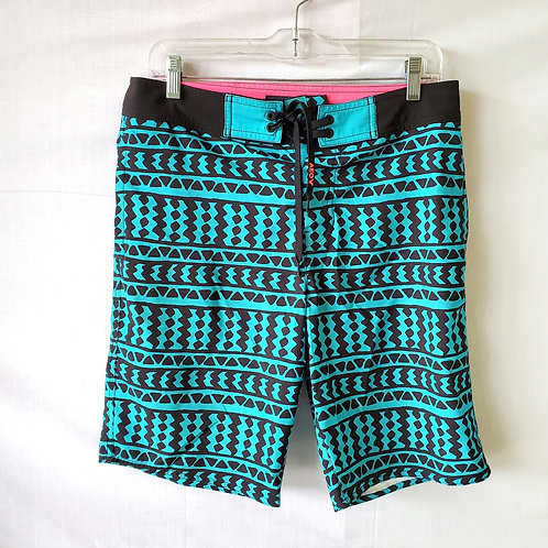 American Eagle Outfitters Turquoise & Black Board Shorts - S
