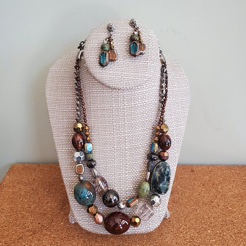 Chico's Beaded Statement Necklace & Earrings Set