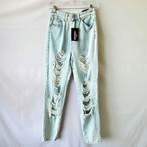 Missguided High Rise Distressed 'Mom' Jeans - size 6 - New