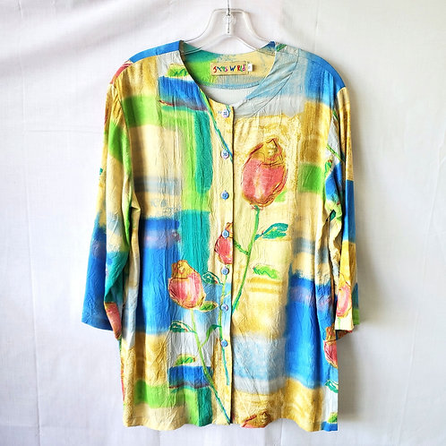 Vintage Jam's World Floral Top with Buttons - S