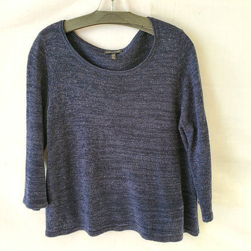 Eileen Fisher Knit Heatherer Blue Cropped Sweater - M