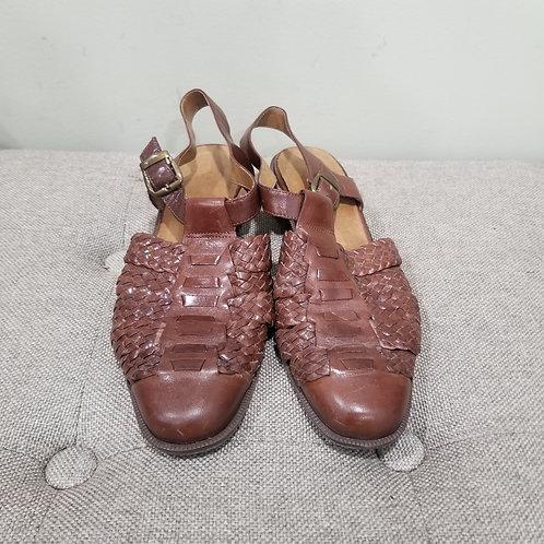 Vintage Brown Leather Sandals - size 9M