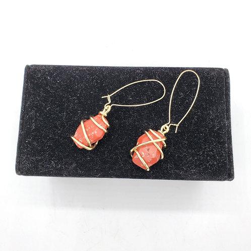 Metal Wrapped Stone Earrings