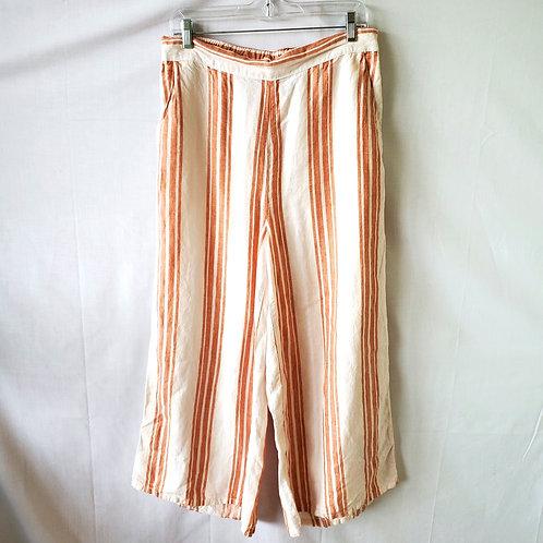 Christian Siriano Linen & Cotton Cropped Wide Leg Pants - L