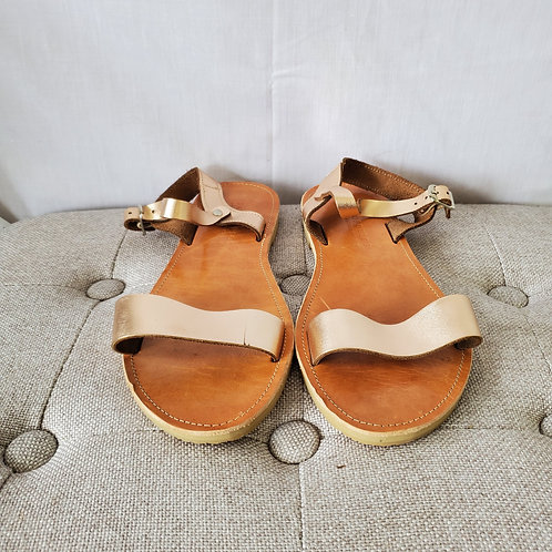 Savopolous Rose Gold Leather Sandals - approx 8