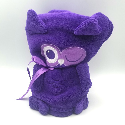 Jafra Purple Winking Owl Fleece Baby Blanket - New