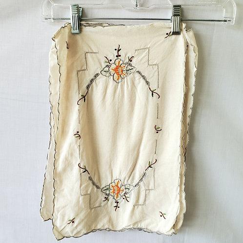 Vintage Embroidered Small Bureau Scarves - Set of 4