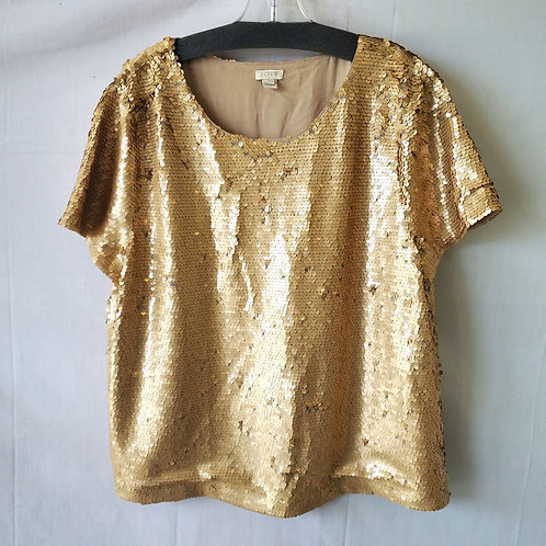 J Crew Factory Gold Sequined Boxy Top - XL