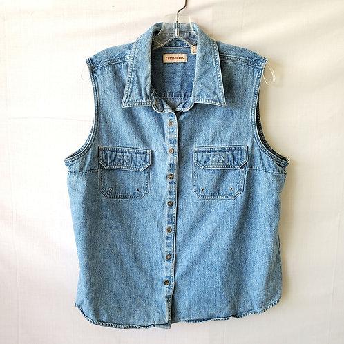 Crossroads 90s Sleeveless Cotton Denim Shirt - XL
