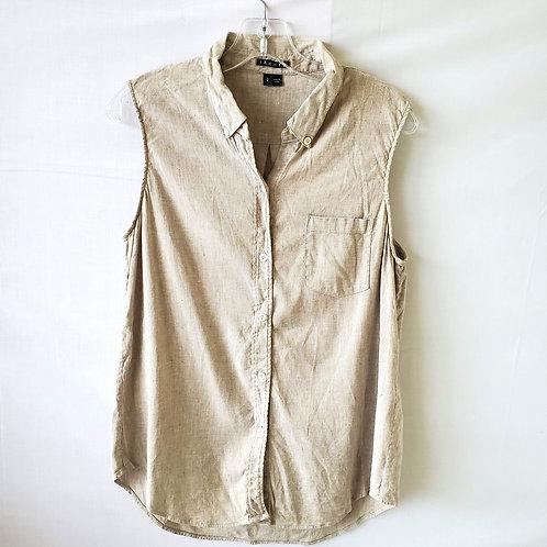 Theory Linen Blend Sleeveless Button Up - L