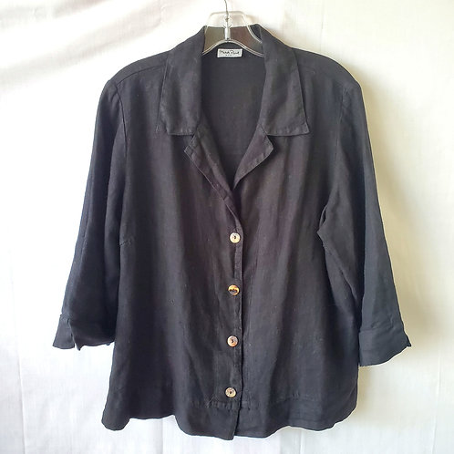 Match Point USA Black Linen Top with Buttons - approx M