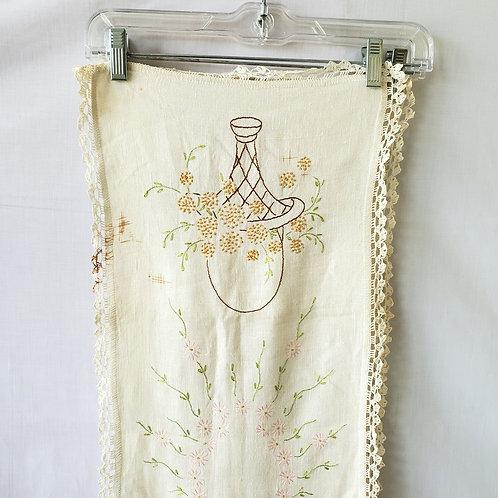 Vintage Embroidered Bureau Scarves - Set of 2