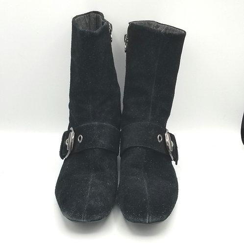 Etienne Aigner Black Suede Buckle Boots - size 9