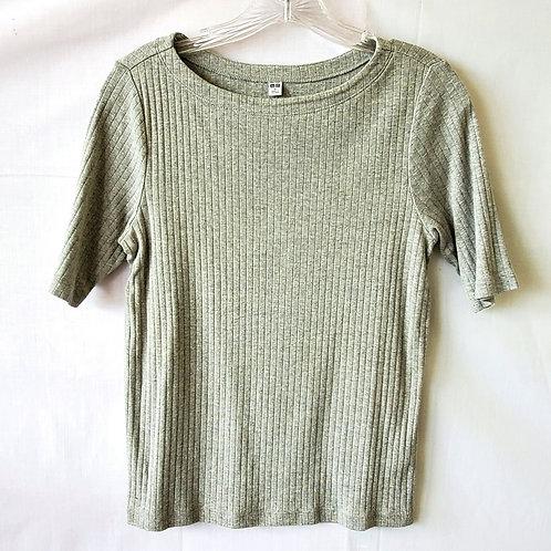 Uniqlo Gray Ribbed Cotton Tee - M