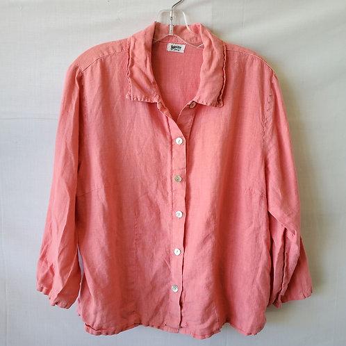 Heaven Coral Pink Linen Blouse - L