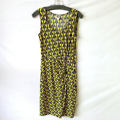 Anne Klein Pattern Dress with Ruching - XS