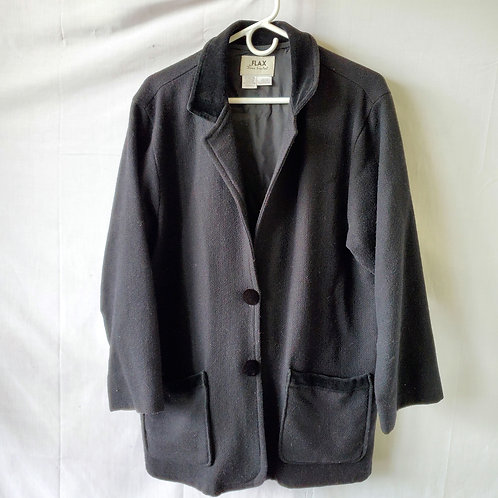 Flax by Jeanne Engelhart Wool Coat with Button - S
