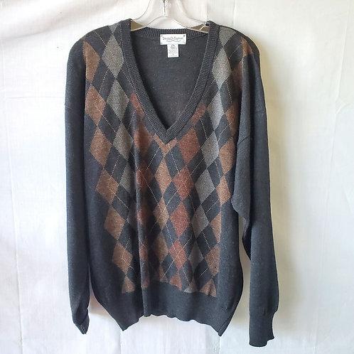 Tricots St. Raphael Merino Wool Argyle Sweater - L