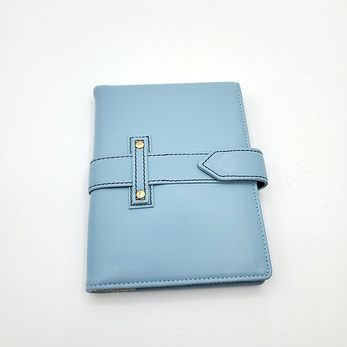 Baby Blue Leather Wallet with Magnetic Clasp
