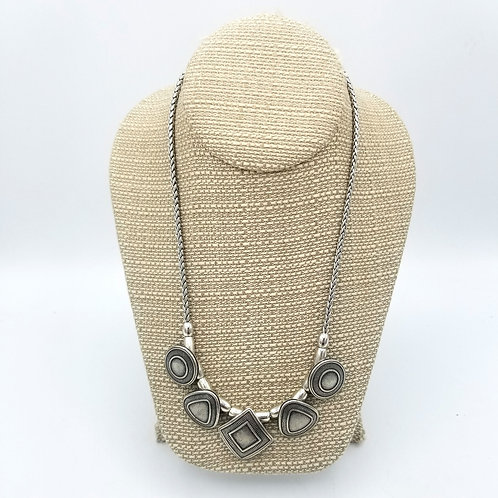 Silvertone Beads & Braided Chain Necklace