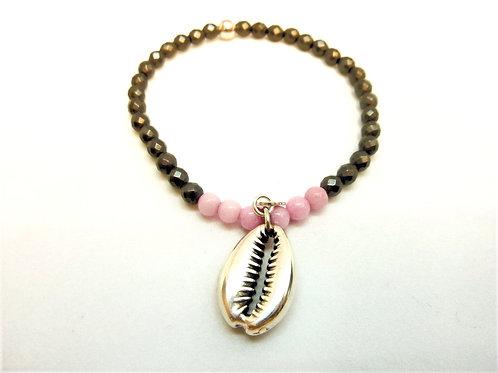 Bracelet en Hématite et Jade rose coquillage Cauri