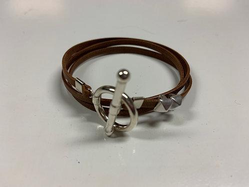 Bracelet ruban cuir chocolat 2 pins