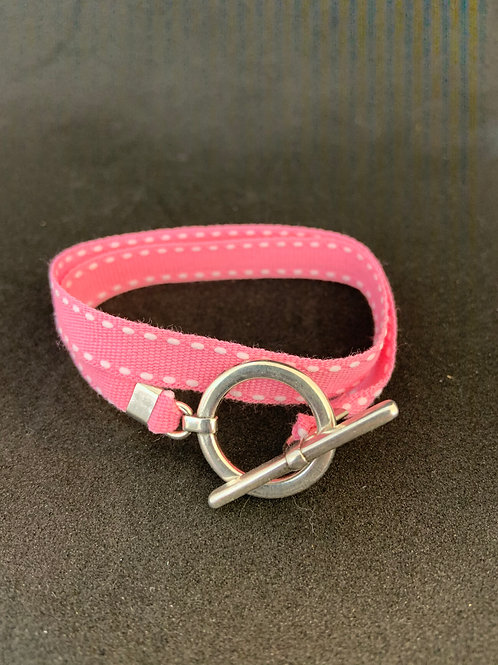 Bracelet ruban rose surpiqûre blanche